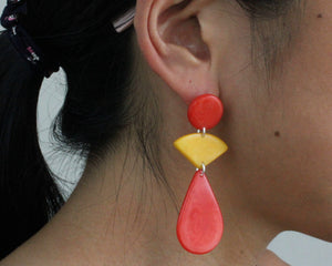 Handmade earring, push back, tagua, colourful, orange, ear