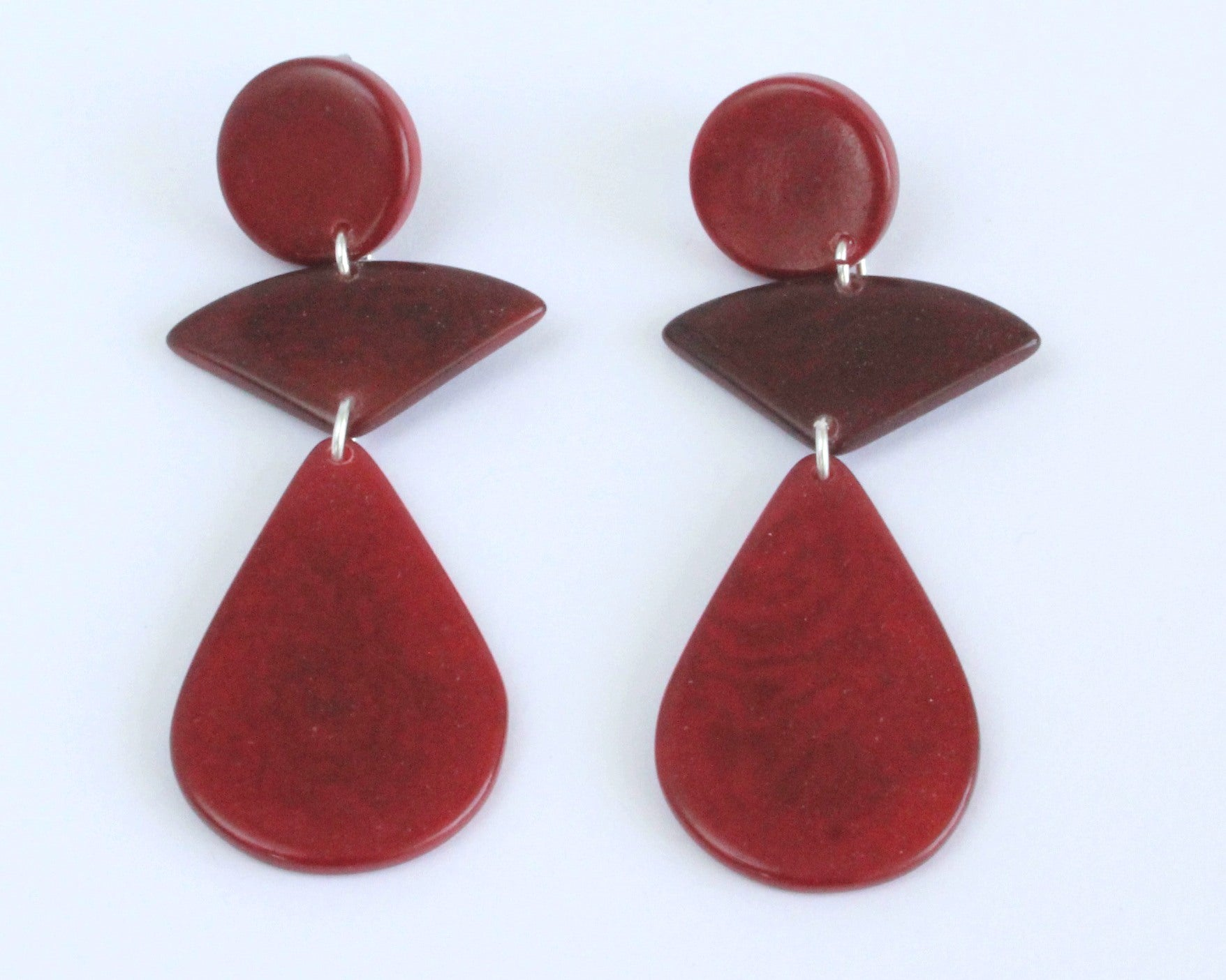 Handmade earring, push back, tagua, colourful, red