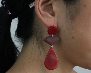 Handmade earring, push back, tagua, colourful, red, ear
