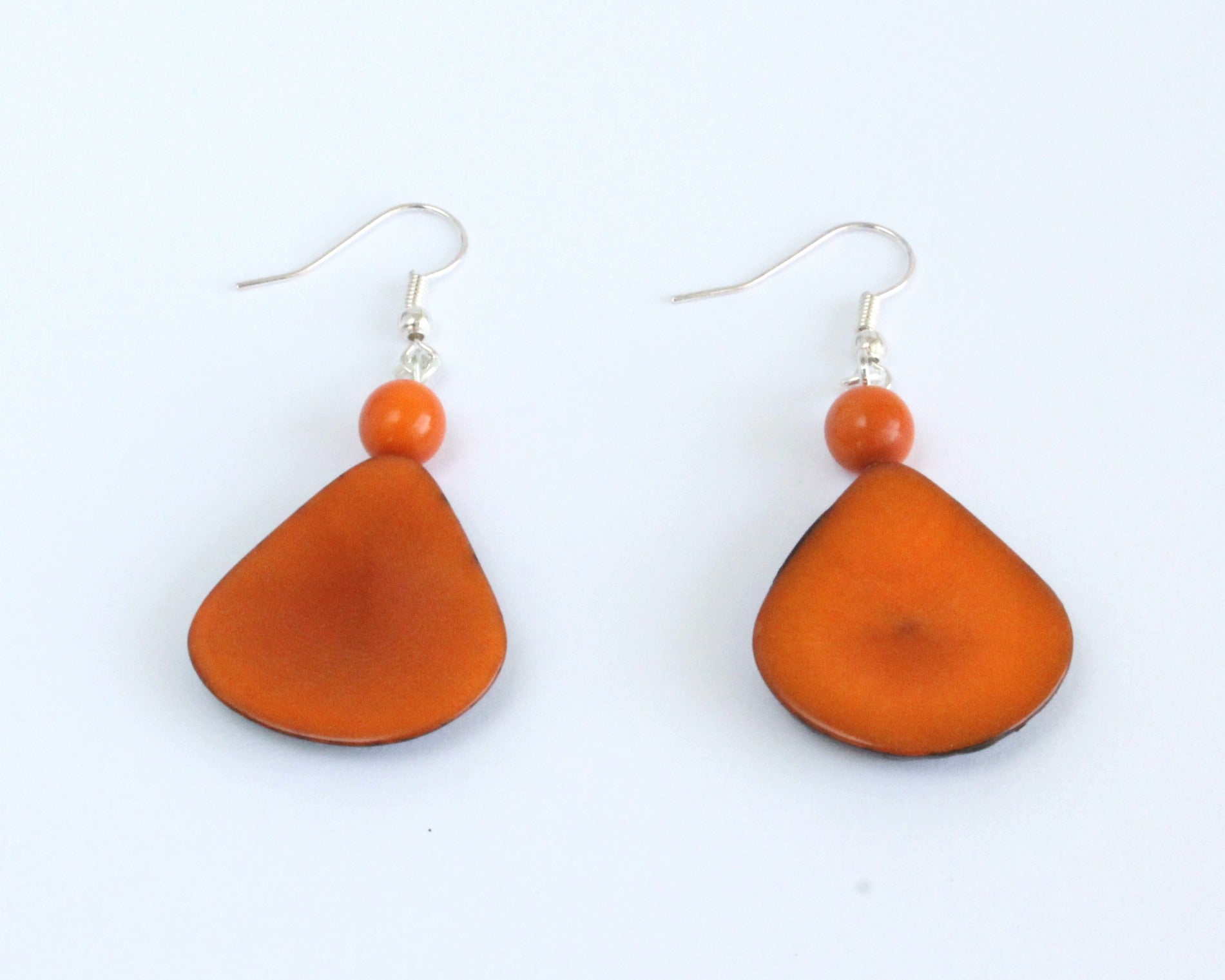 Handmade earring, fish hook, tagua, colourful, orange, back