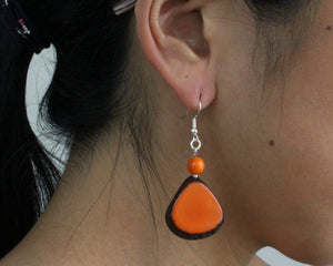 Handmade earring, fish hook, tagua, colourful, orange, ear