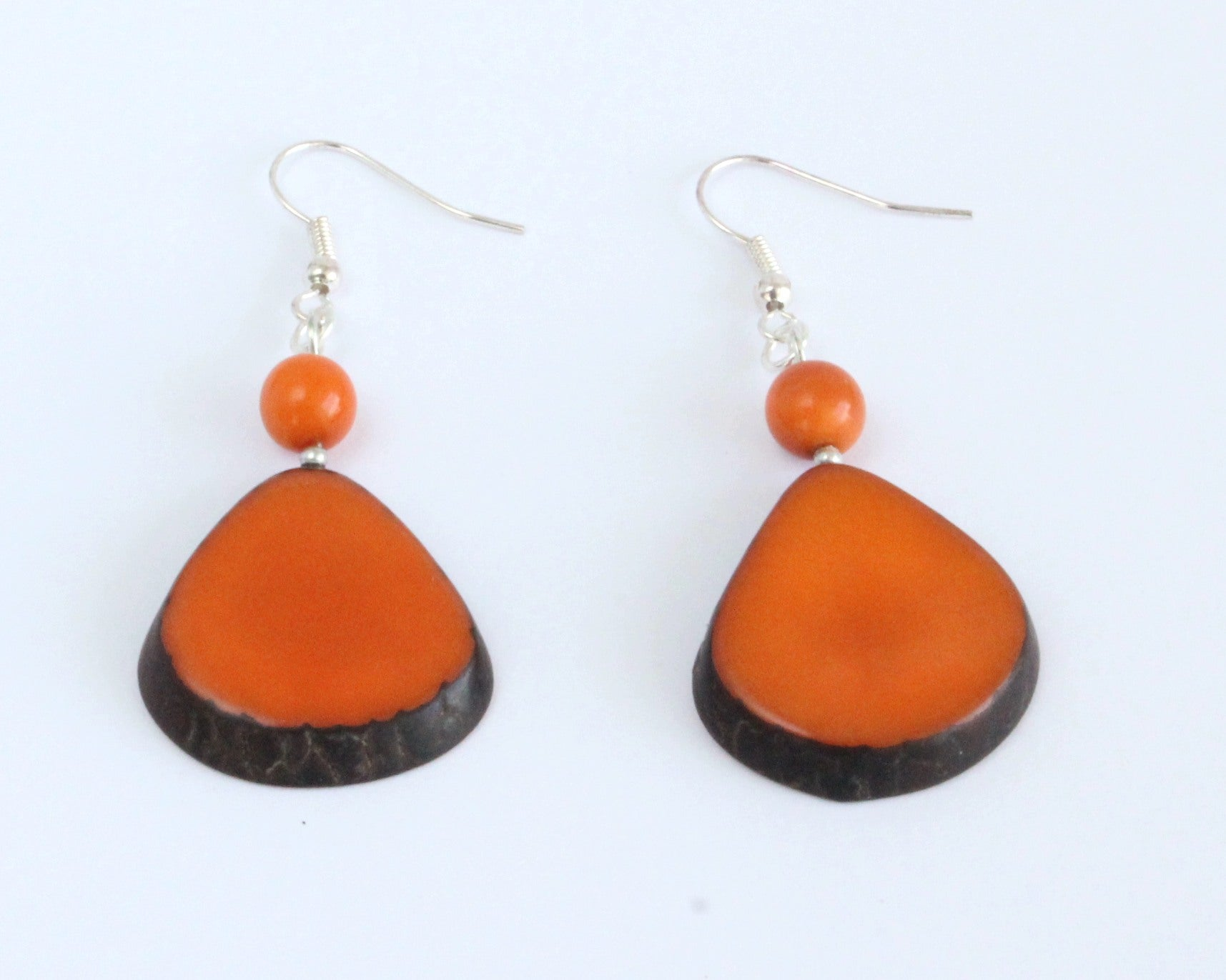 Handmade earring, fish hook, tagua, colourful, orange, front