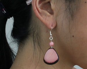 Handmade earring, fish hook, tagua, colourful, pink, ear
