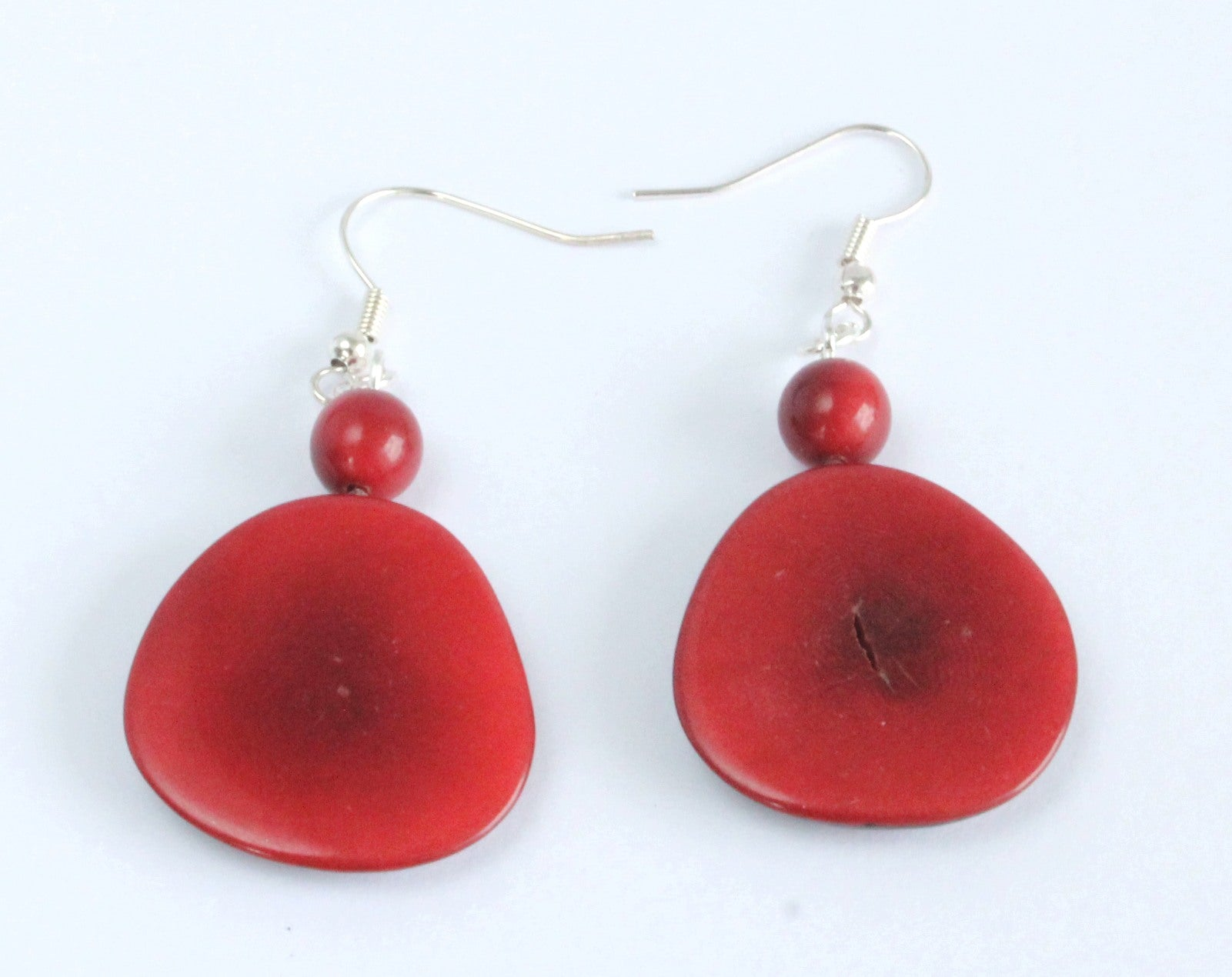 Handmade earring, fish hook, tagua, colourful, red
