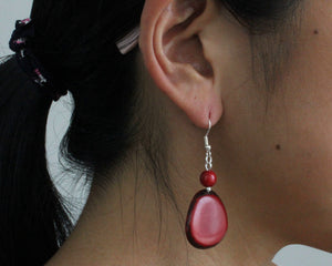 Handmade earring, fish hook, tagua, colourful, red, ear