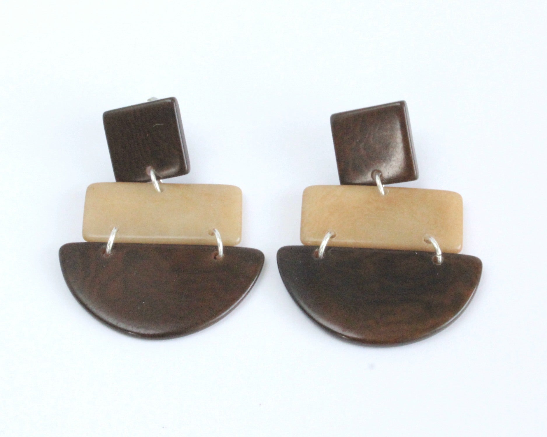 Handmade earring, sustainable, tagua, push back, brown