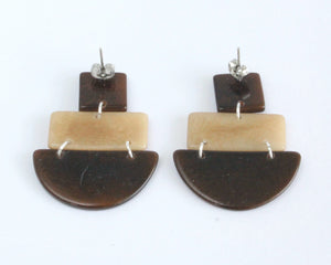 Handmade earring, sustainable, tagua, push back, brown, back