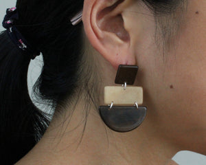 Handmade earring, sustainable, tagua, push back, brown, ear
