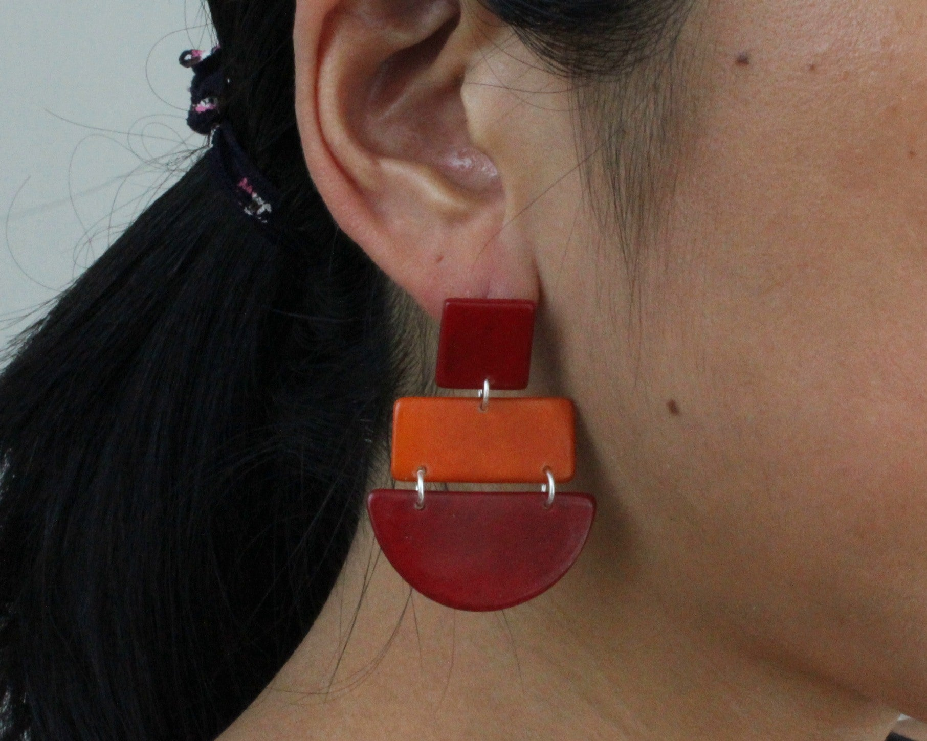 Handmade earring, sustainable, tagua, push back, red, ear