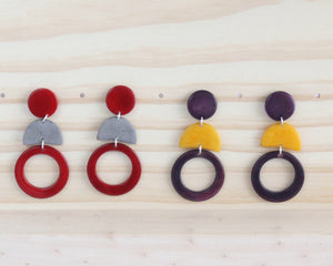 Handmade earring, push back, tagua, colourful, collection