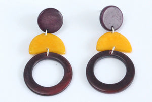 Handmade earring, push back, tagua, colourful, purple, front