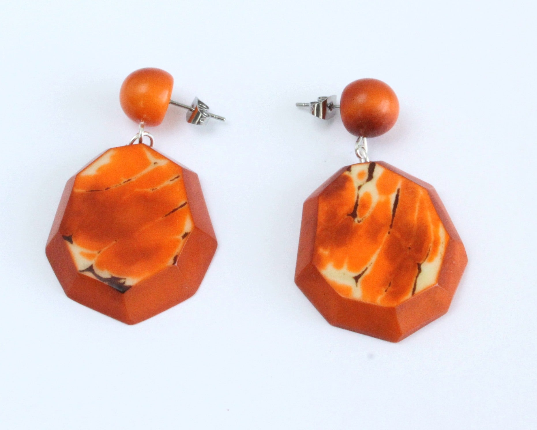Handmade earring, push back, tagua, colourful, orange