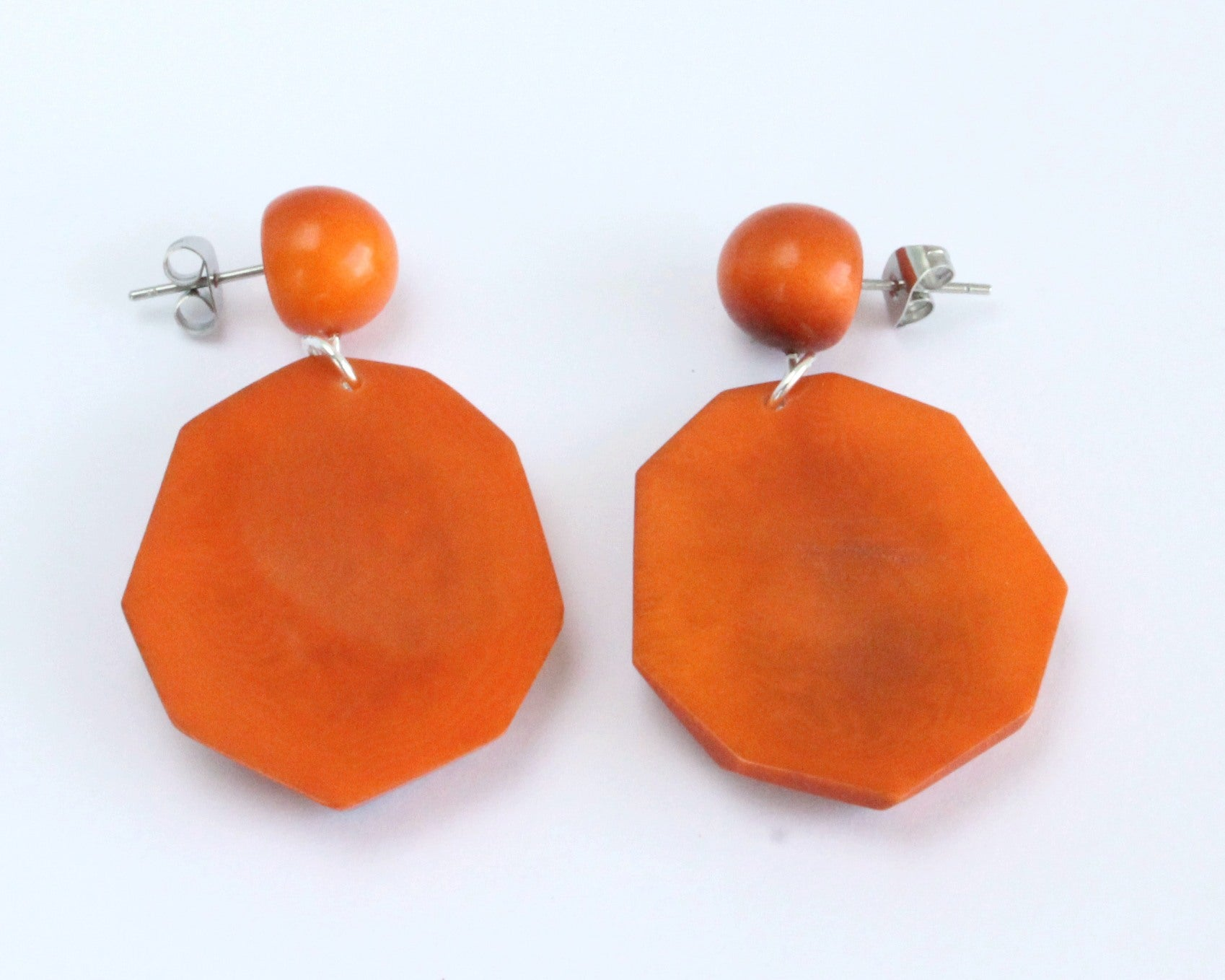 Handmade earring, push back, tagua, colourful, orange back