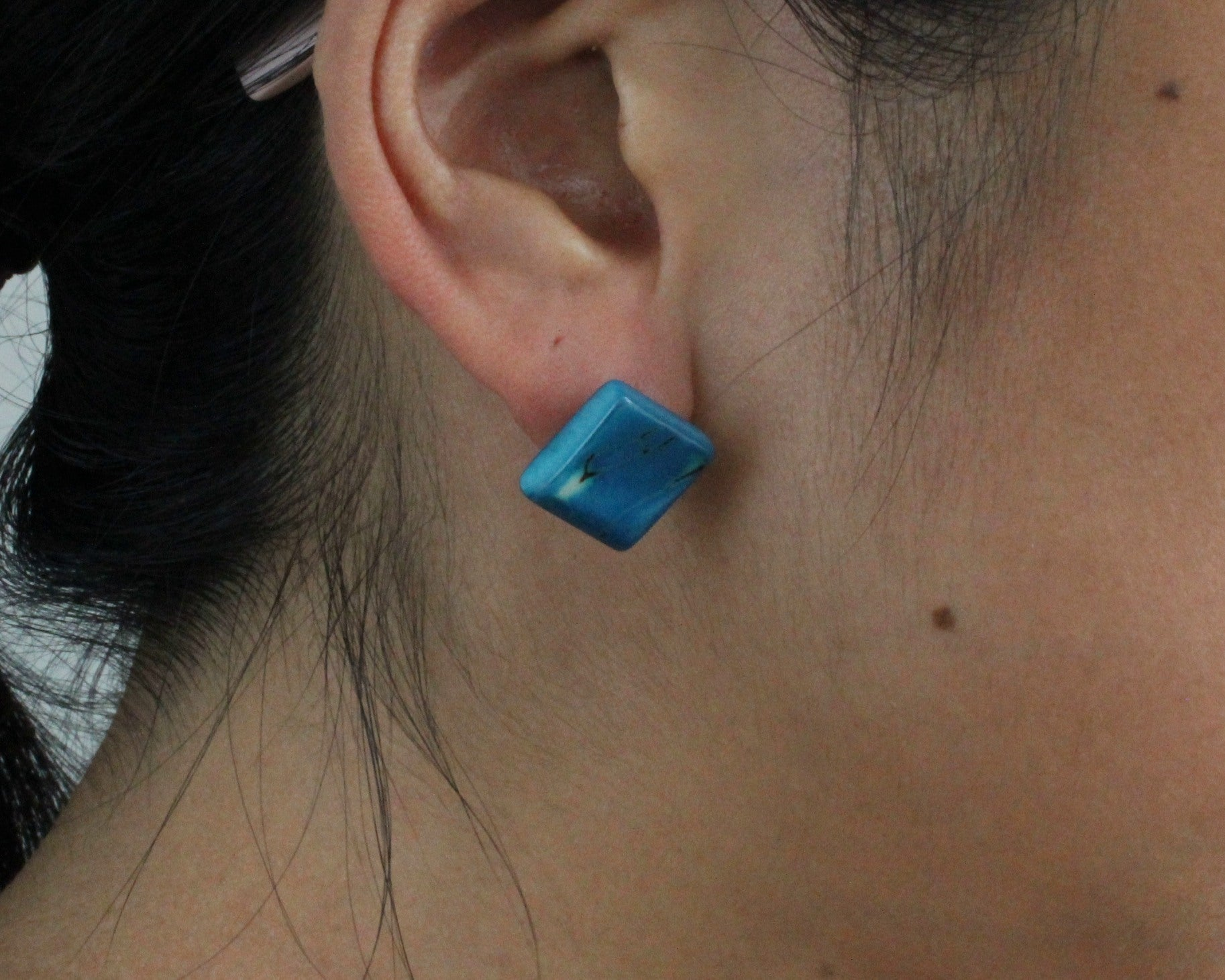 Handmade earring, sustainable, tagua, stud, push back, turquoise, ear