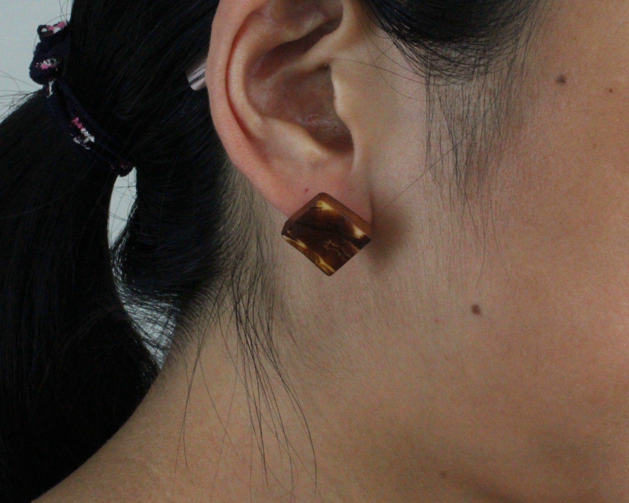 Handmade earring, sustainable, tagua, stud, push back, brown, ear