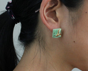 Handmade earring, sustainable, tagua, stud, push back, green, ear