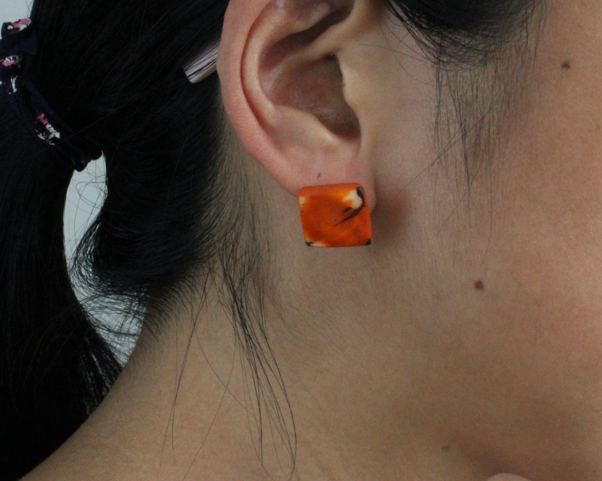 Handmade earring, sustainable, tagua, stud, push back, orange, ear