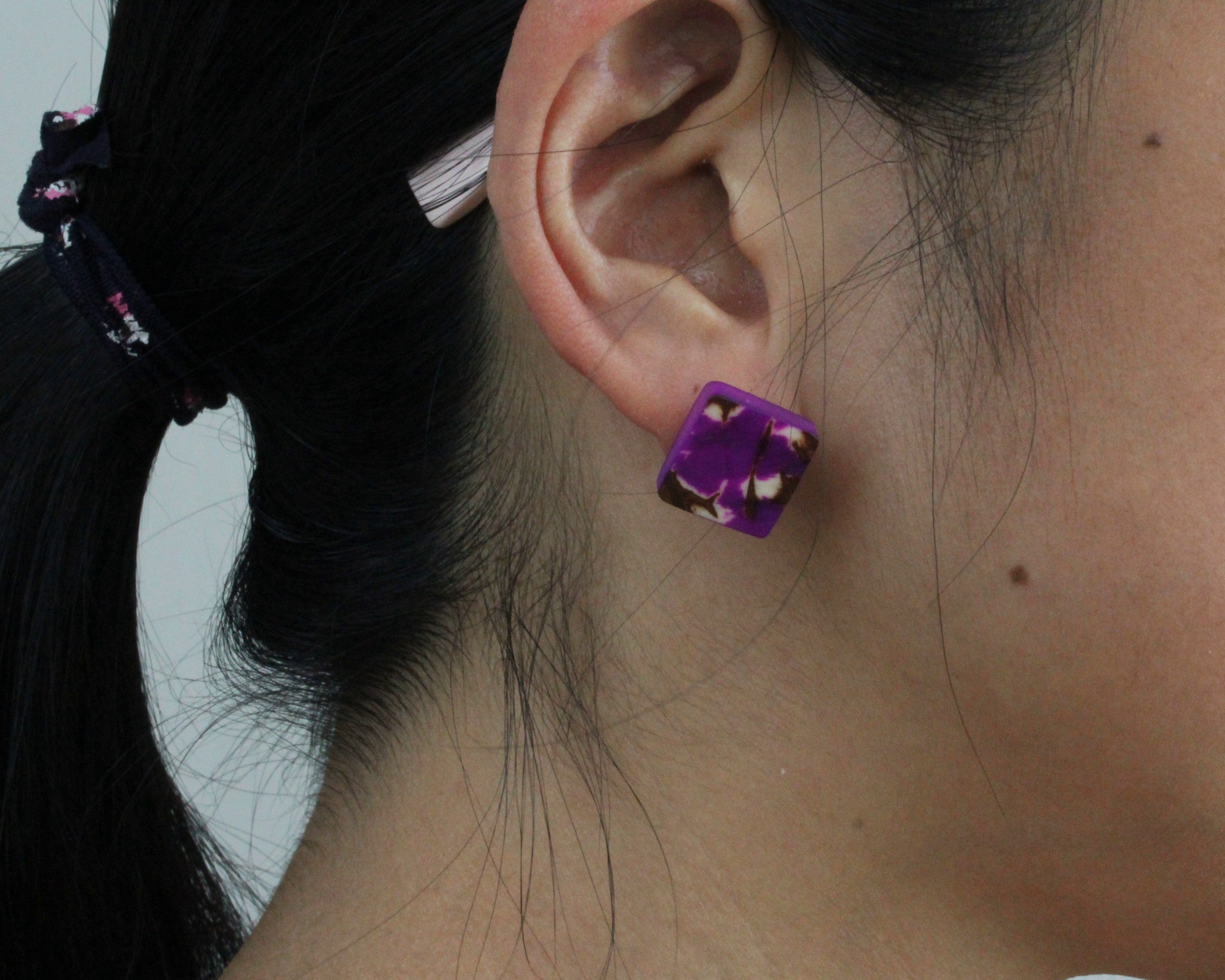 Handmade earring, sustainable, tagua, stud, push back, purple, ear