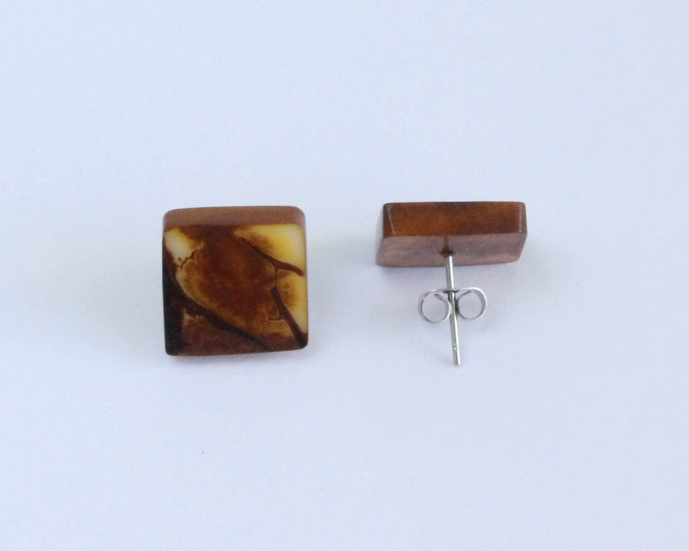 Handmade earring, sustainable, tagua, stud, push back, brown back
