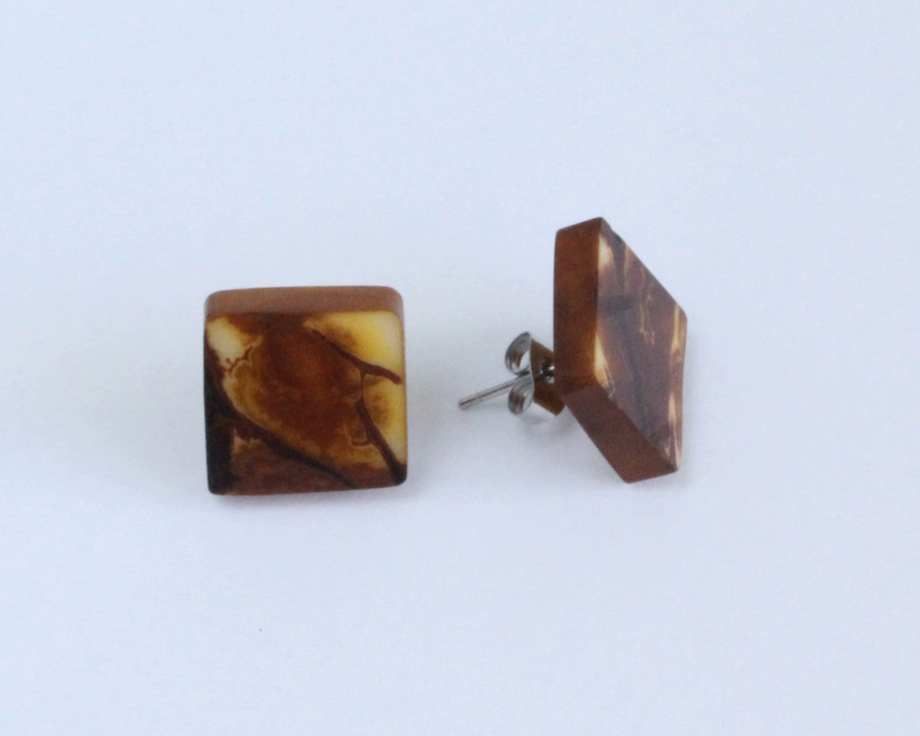 Handmade earring, sustainable, tagua, stud, push back, brown mixed