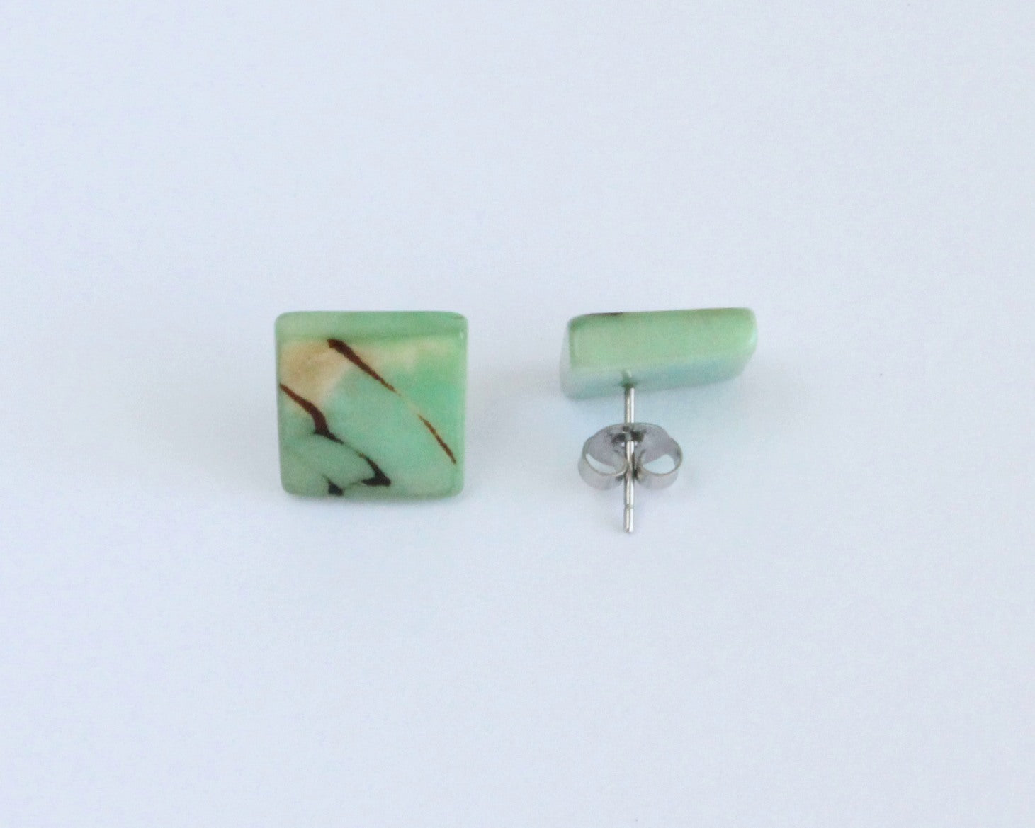Handmade earring, sustainable, tagua, stud, push back, green back