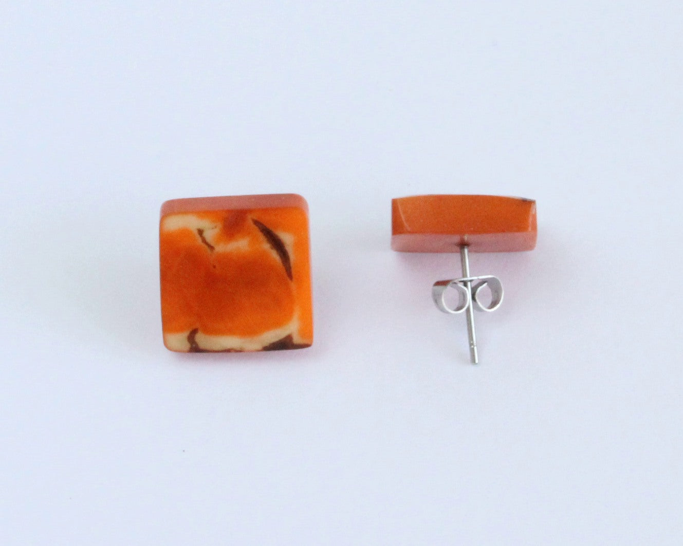Handmade earring, sustainable, tagua, stud, push back, orange back