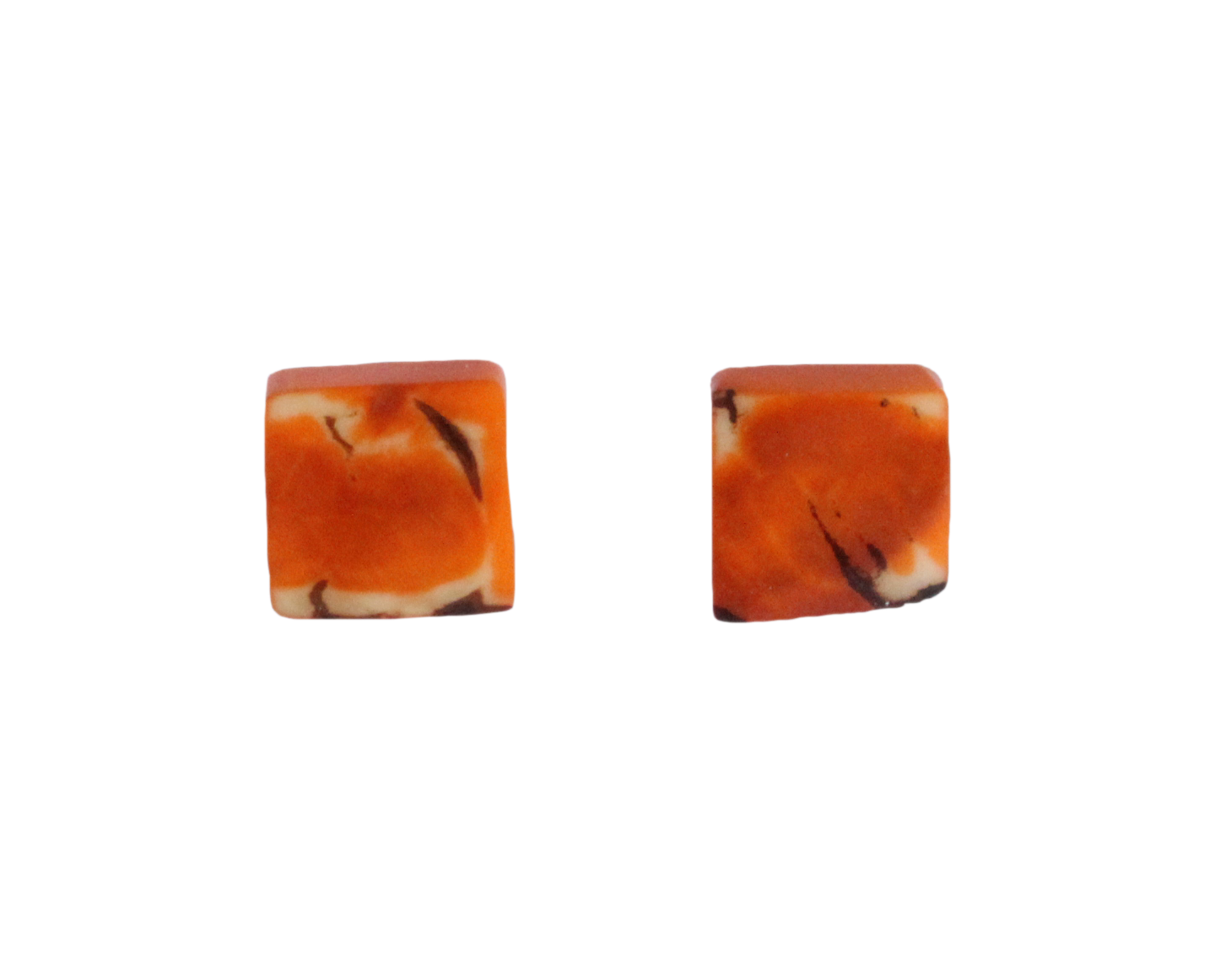 Handmade earring, sustainable, tagua, stud, push back, orange