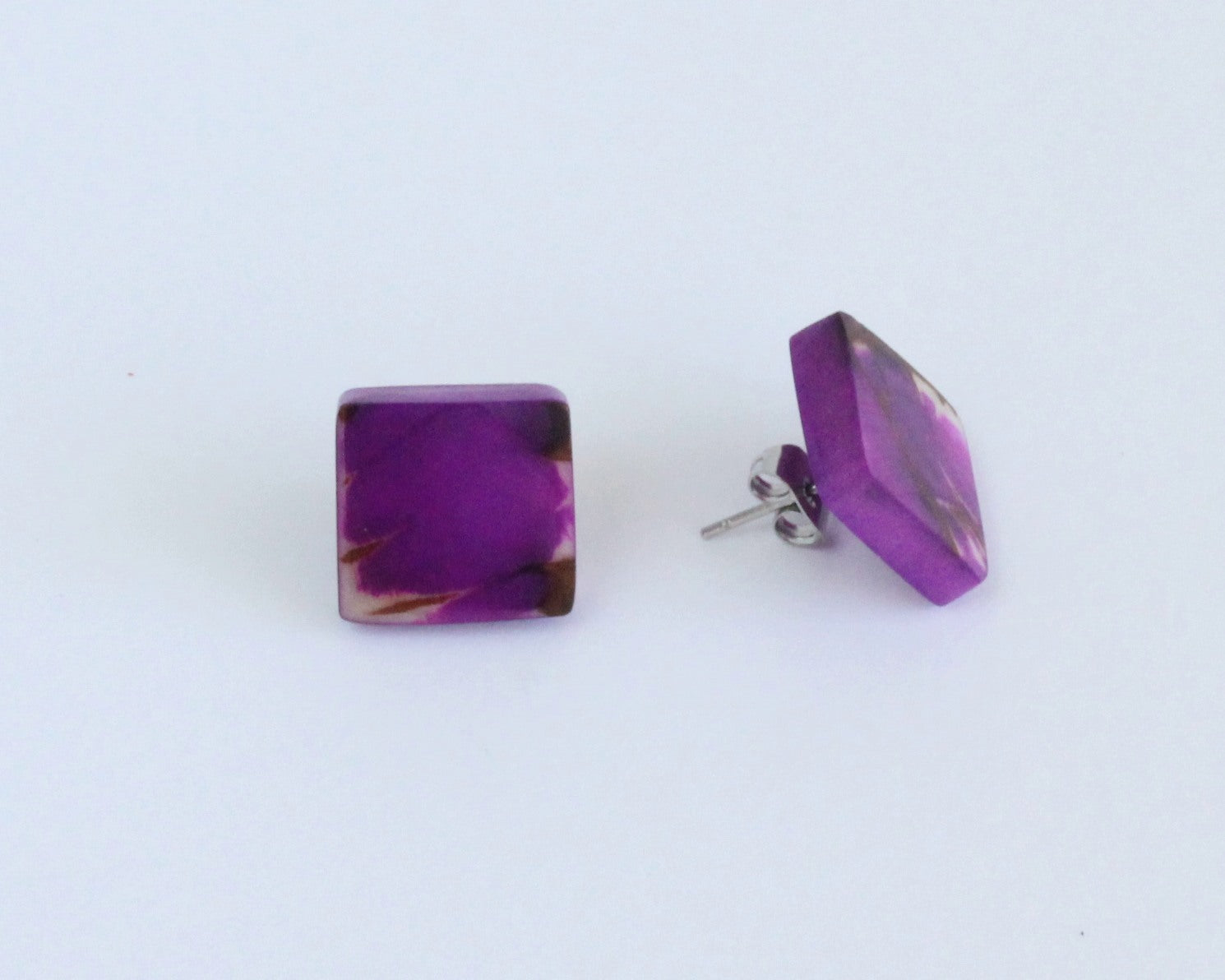 Handmade earring, sustainable, tagua, stud, push back, purple, side
