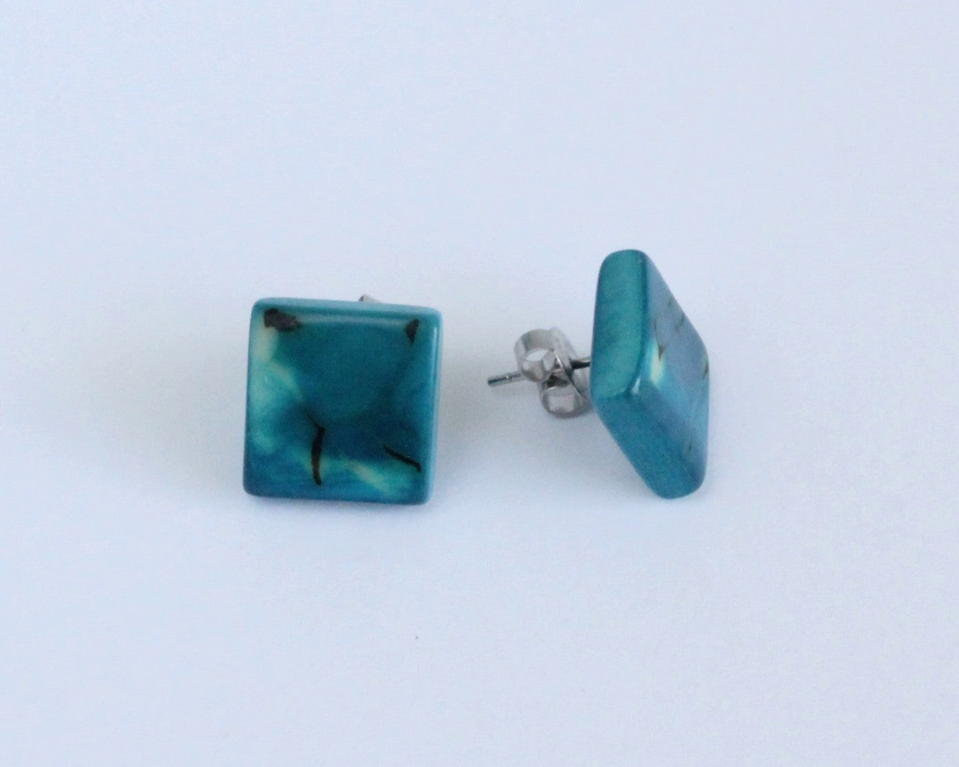 Handmade earring, sustainable, tagua, stud, push back, turquoise, side