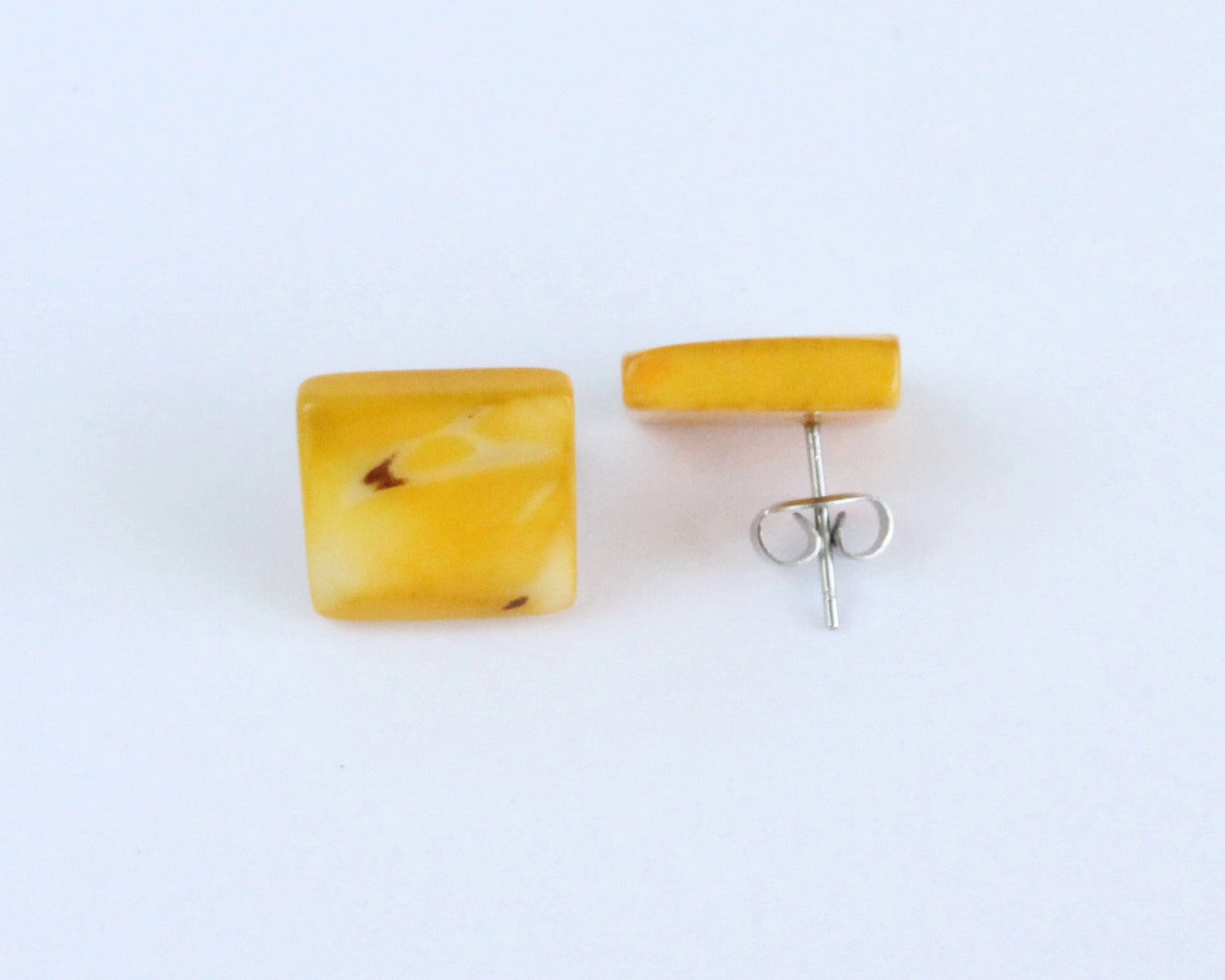 Handmade earring, sustainable, tagua, stud, push back, yellow, mixed