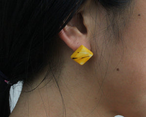 Handmade earring, sustainable, tagua, stud, push back, yellow, ear