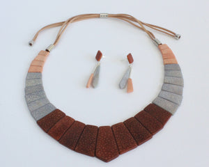 Handmade necklace and earrings, luxury set, tagua