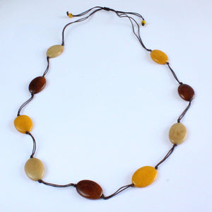 Necklace, sustainable tagua nut, autumn, adjustable, handmade
