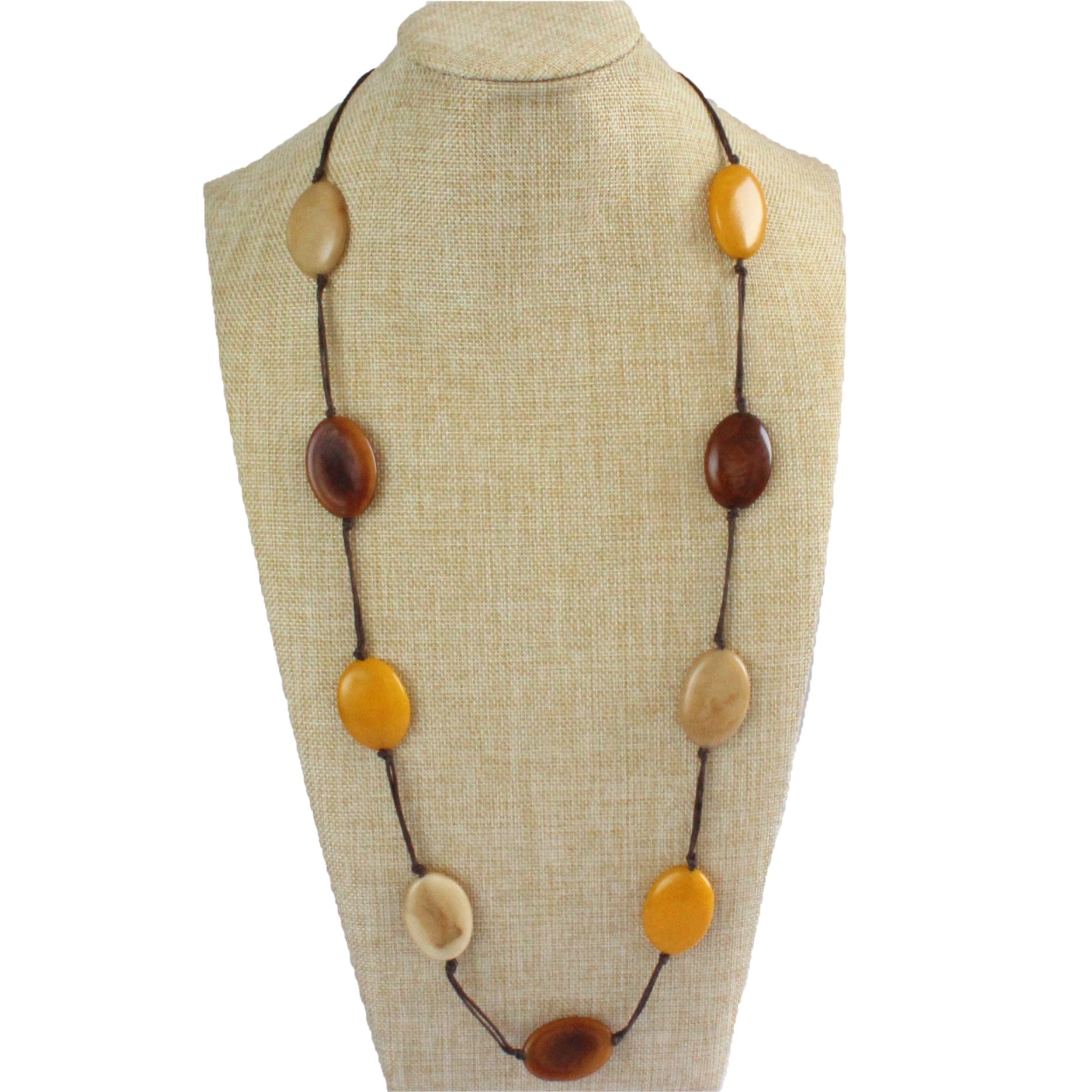 Necklace, sustainable tagua nut, autumn, adjustable, handmade, stand