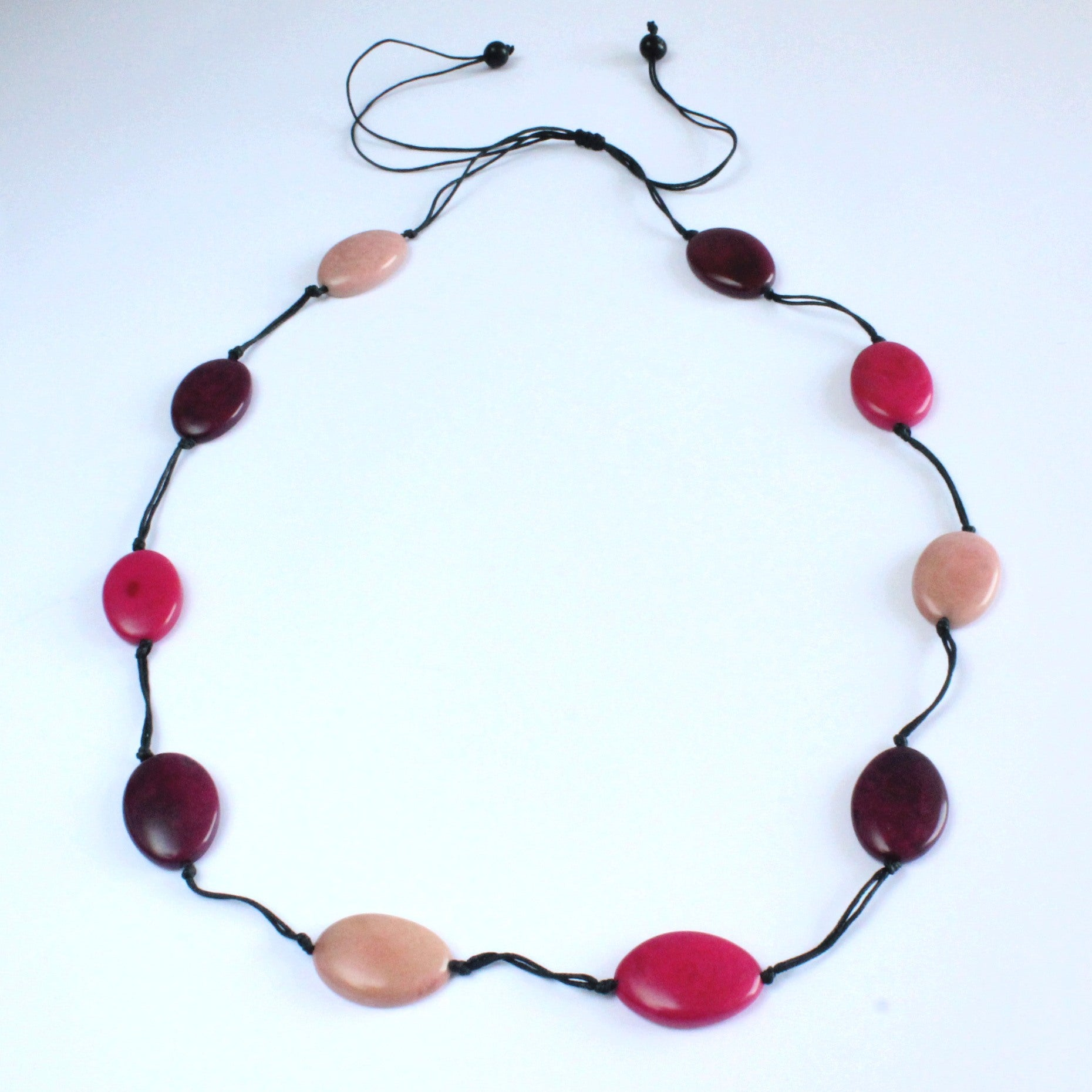 Necklace, sustainable tagua nut, pink, adjustable, handmade