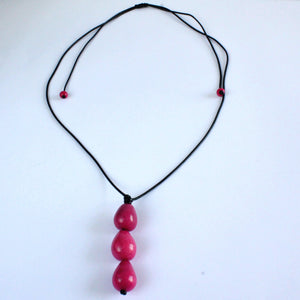 Necklace, handmade, sustainable tagua nut, cerise