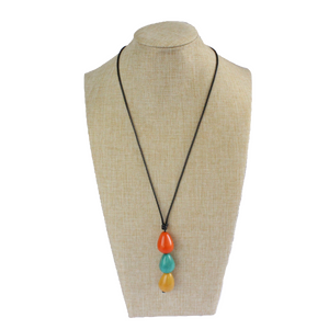 Necklace, handmade, sustainable tagua nut, multicolour, stand