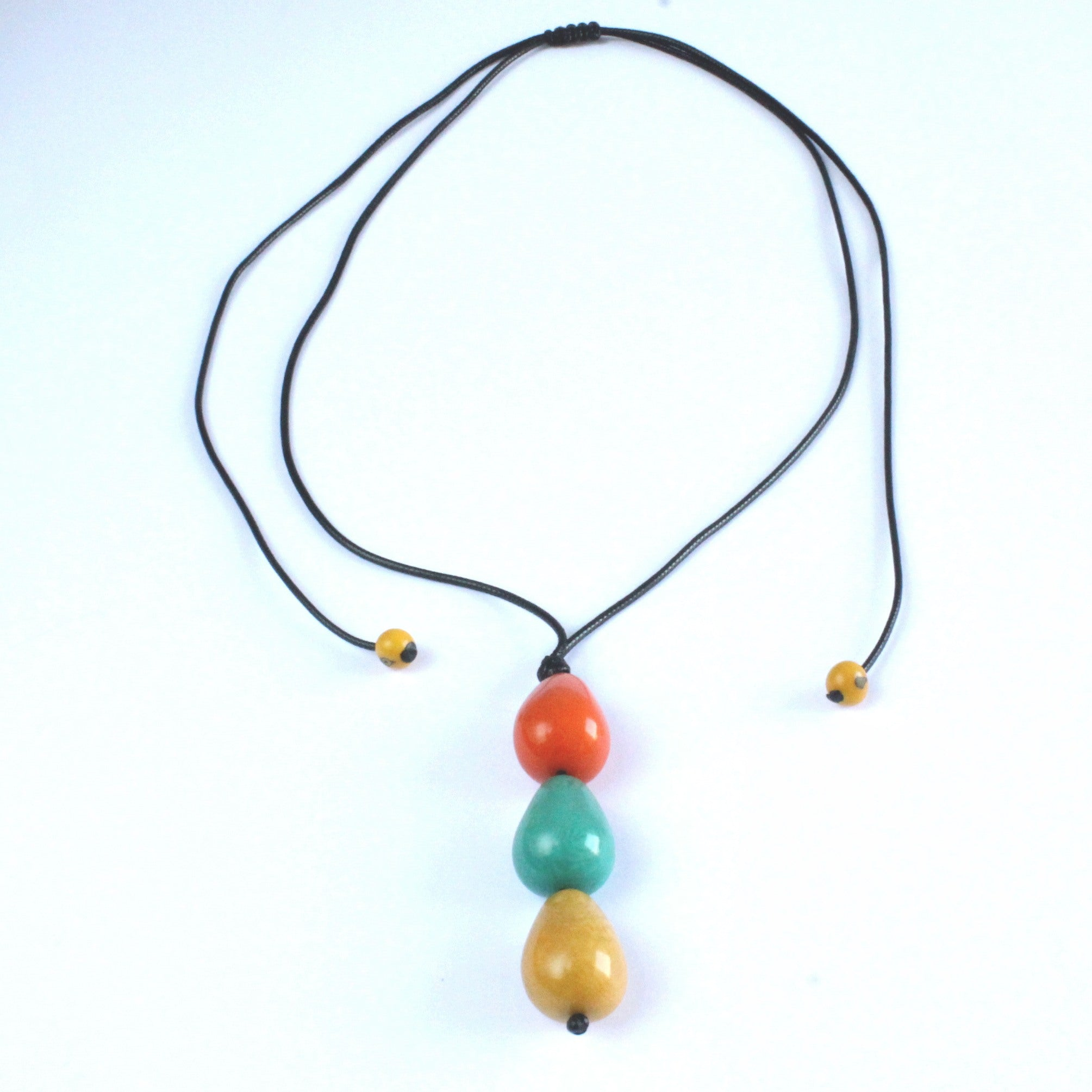 Necklace, handmade, sustainable tagua nut, multicolour