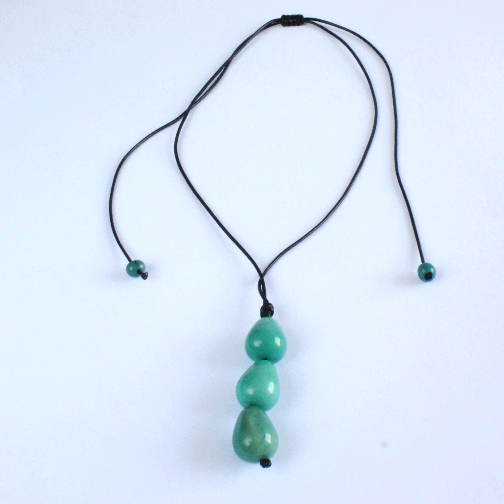 Necklace, handmade, sustainable tagua nut, turquoise