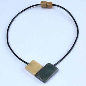 Handmade necklace, sustainable, tagua nut, magnetic lock, grey beige