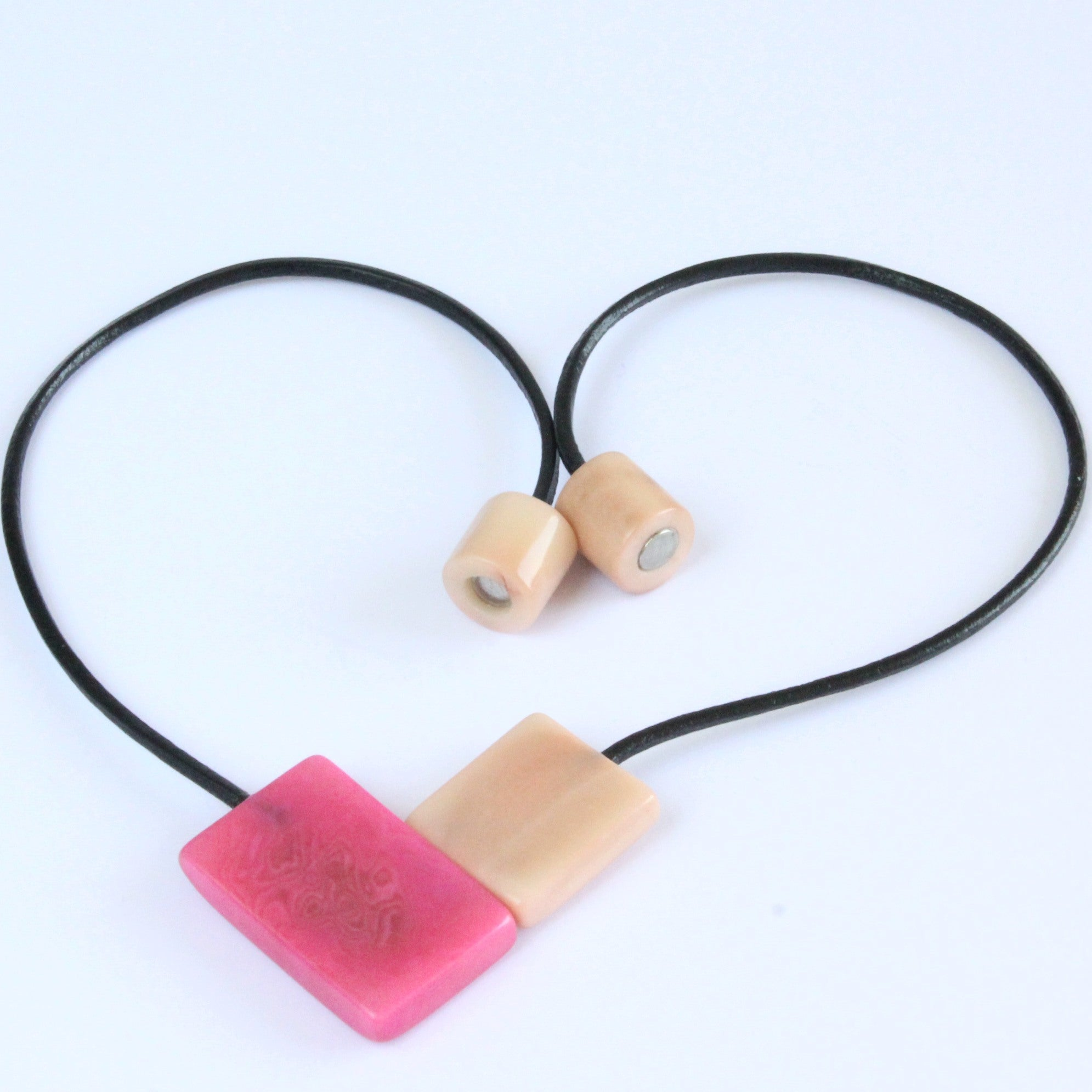 Handmade necklace, sustainable, tagua nut, magnetic lock, pink
