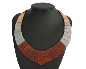 Handmade necklace and earrings, luxury set, tagua, stand