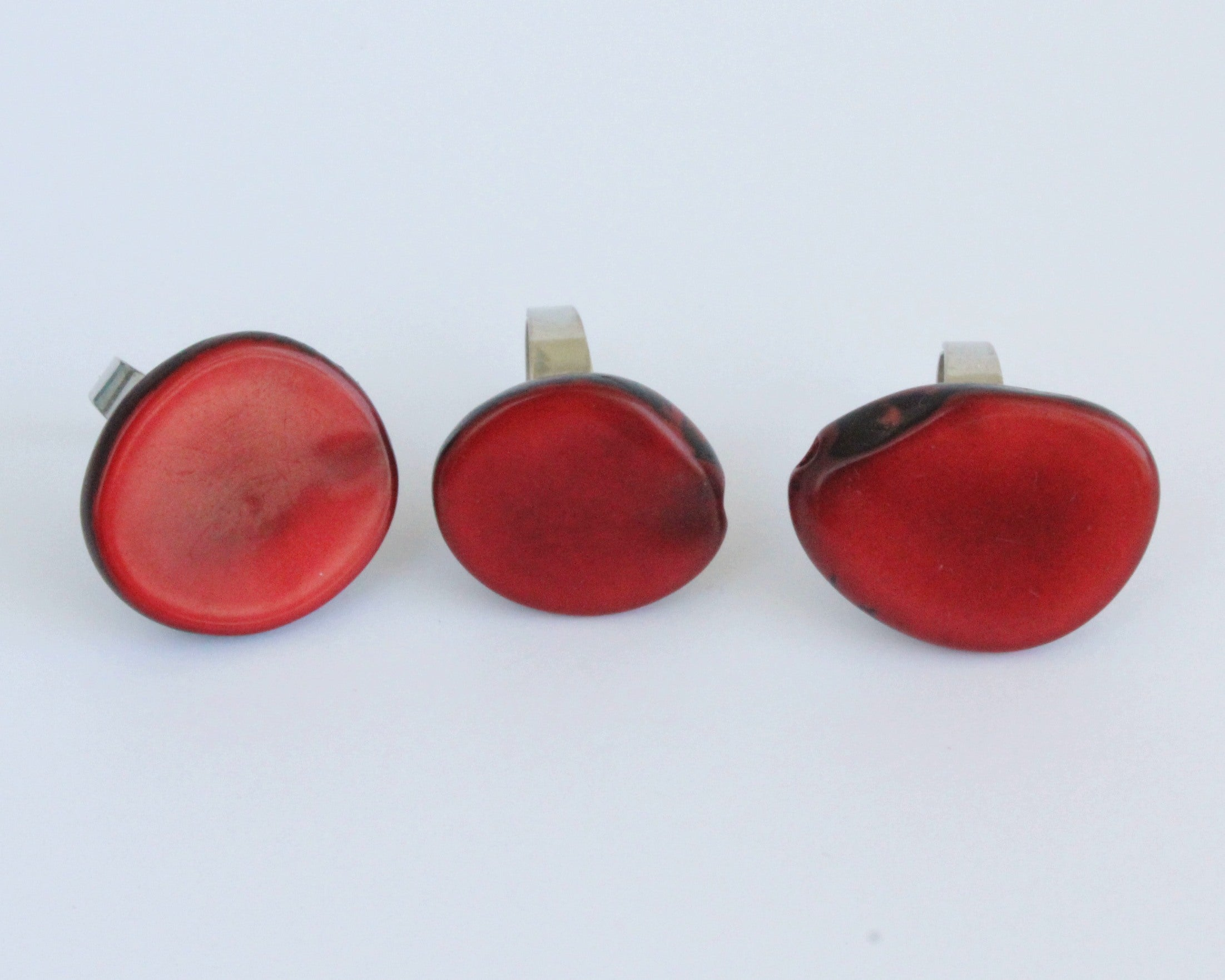 Handmade ring, tagua, red, adjustable ring size, sustainable, ethical, three front
