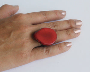 Handmade ring, tagua, red, adjustable ring size, sustainable, ethical, hand