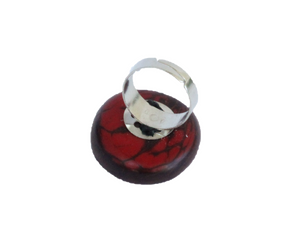 Handmade ring, tagua, red, adjustable ring size, sustainable, ethical, back