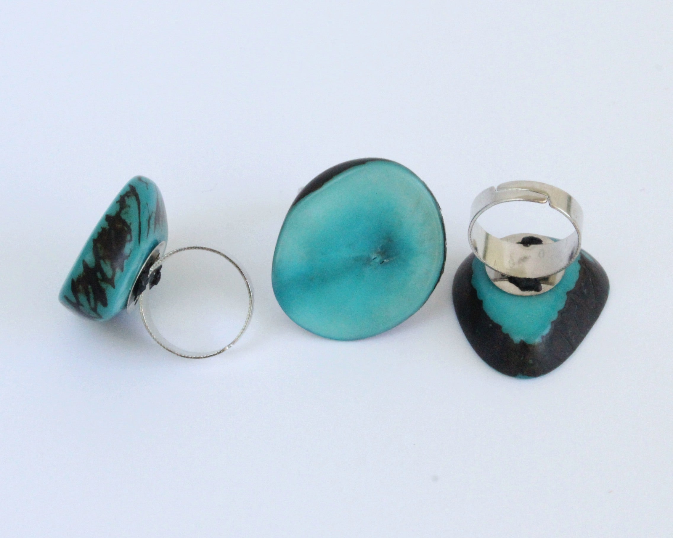 Handmade ring, tagua, turquoise, adjustable ring size, sustainable, ethical, three mixed