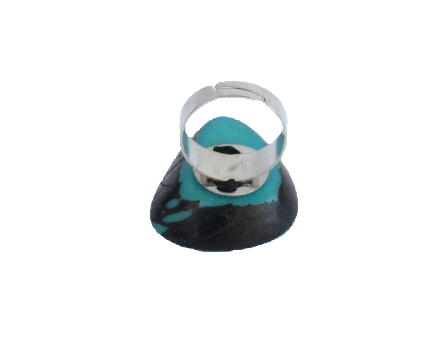 Handmade ring, tagua, turquoise, adjustable ring size, sustainable, ethical, back