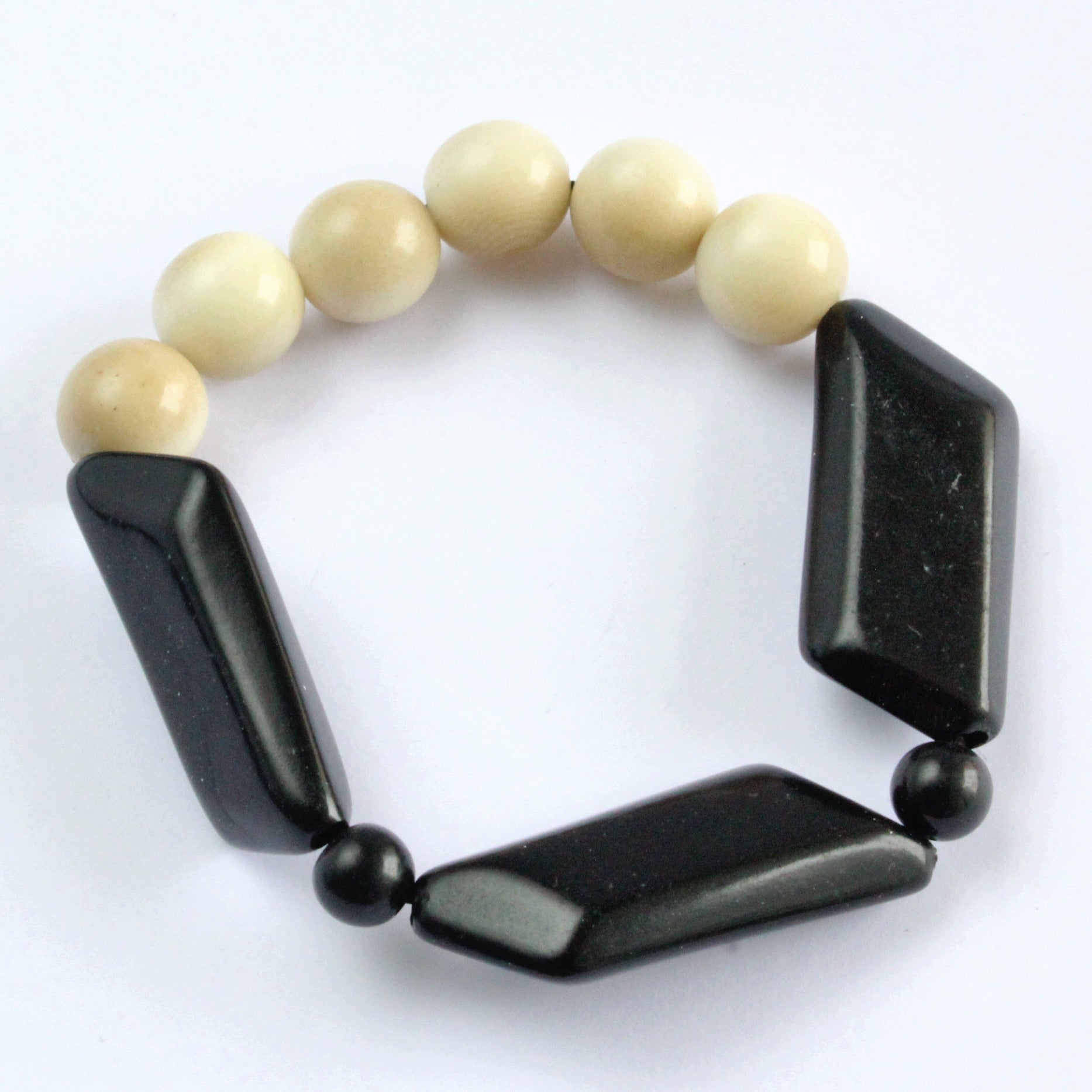 Handmade bracelet, tagua nut, sustainable, black, white