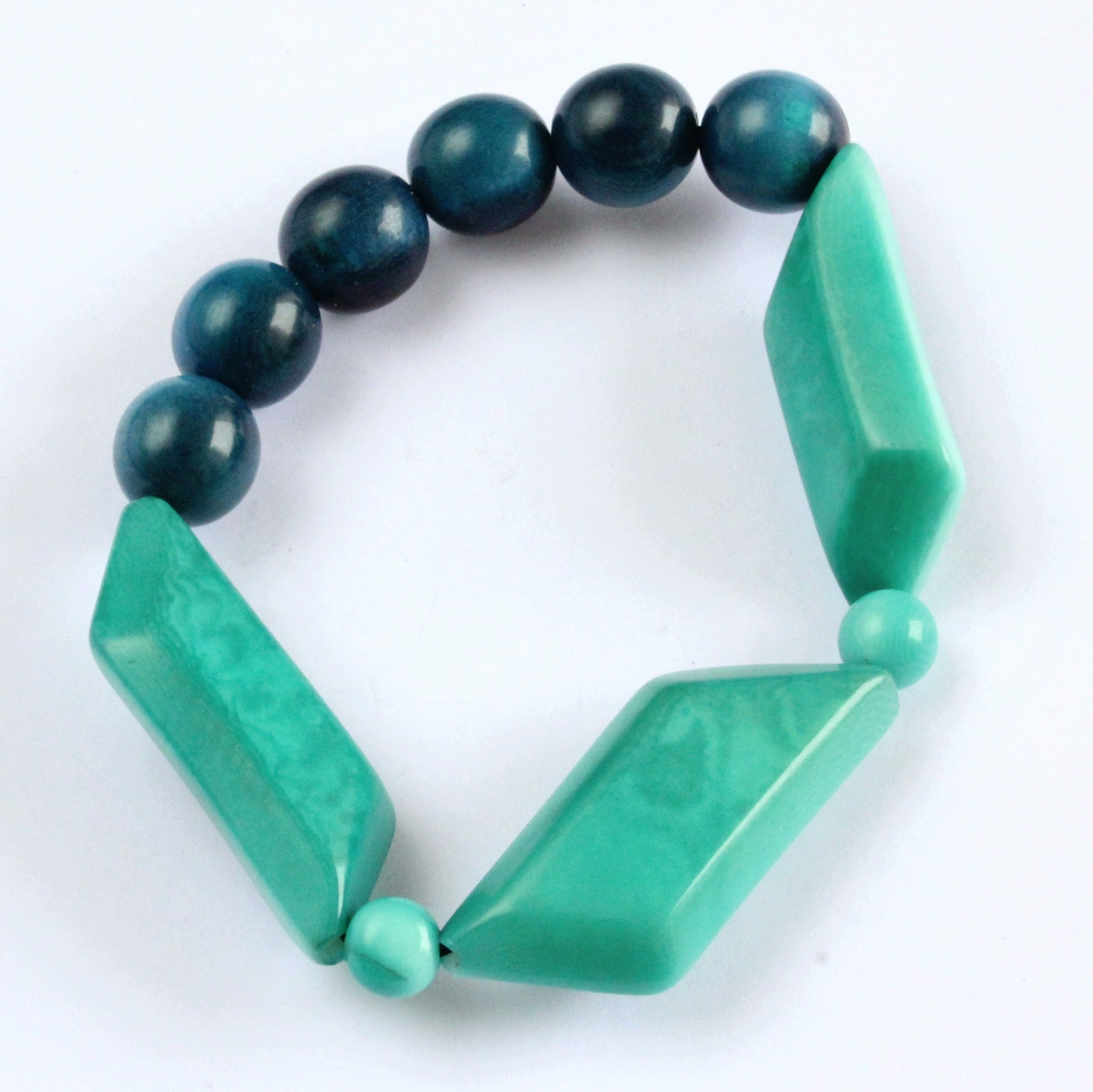Handmade bracelet, tagua nut, sustainable, petroleum, emerald