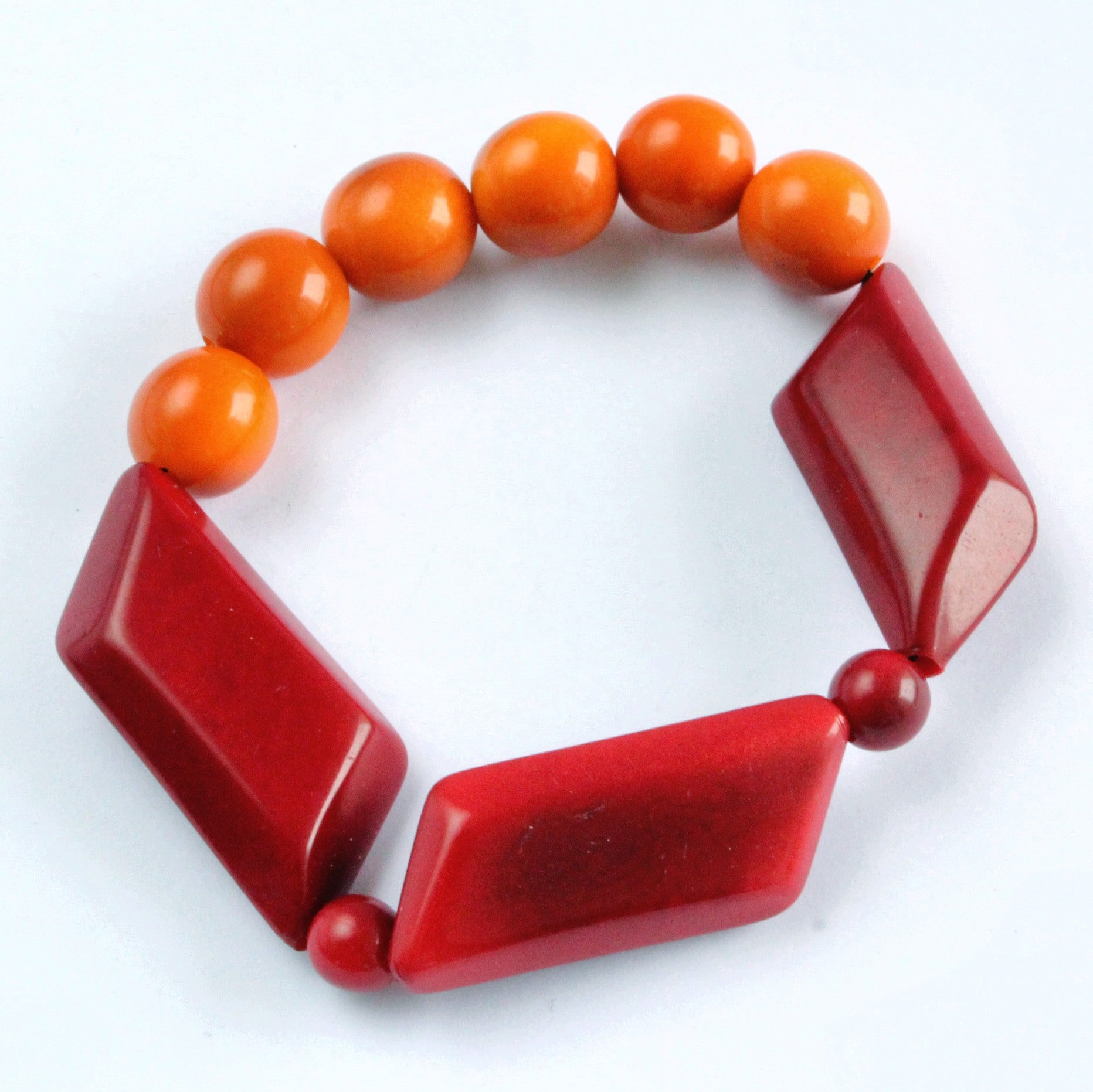 Handmade bracelet, tagua nut, sustainable, red, orange